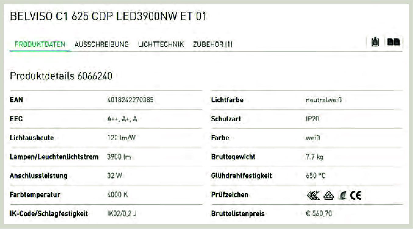 Technische Katalogdaten