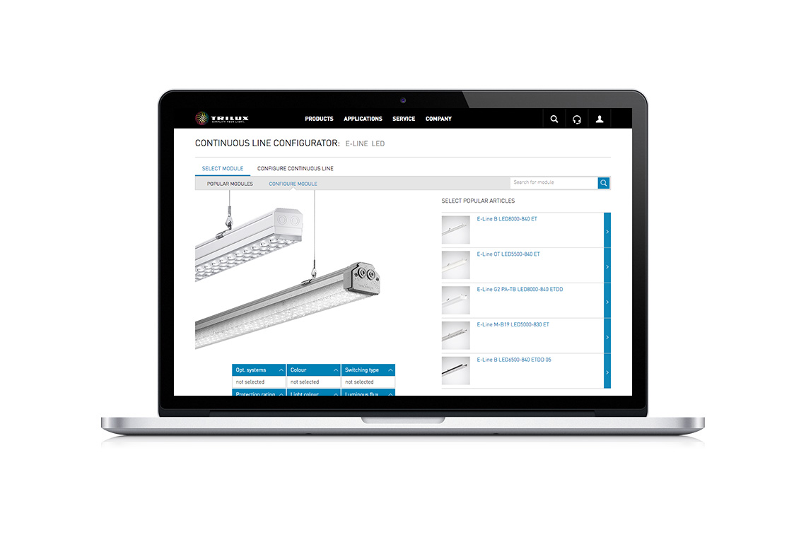 e line led products trilux simplify your lighte line configurator