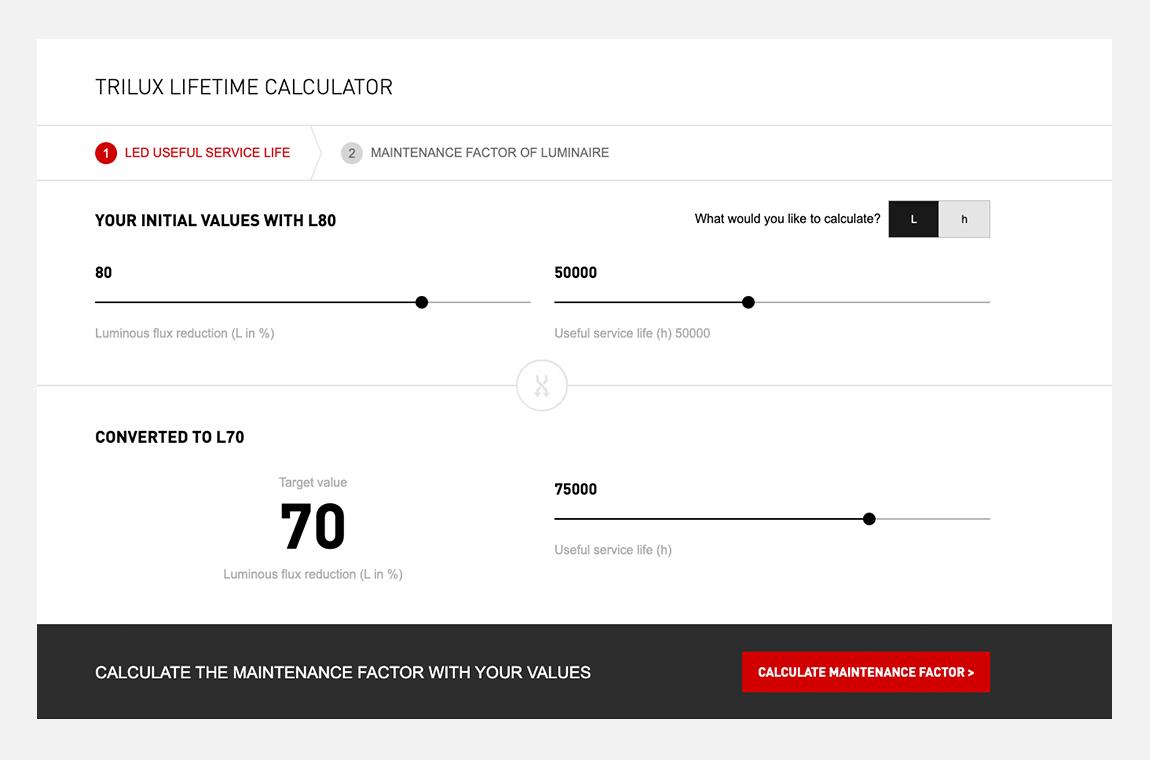 lifetime calculator trilux simplify your light